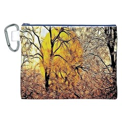 Summer Sun Set Fractal Forest Background Canvas Cosmetic Bag (xxl)