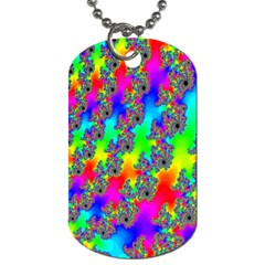 Digital Rainbow Fractal Dog Tag (One Side)