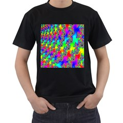 Digital Rainbow Fractal Men s T Shirt (black) (two Sided)