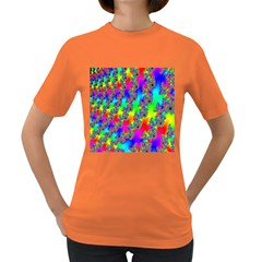 Digital Rainbow Fractal Women s Dark T Shirt