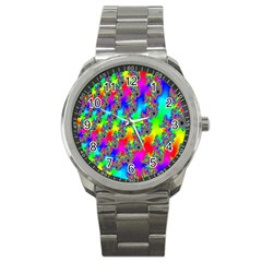 Digital Rainbow Fractal Sport Metal Watch