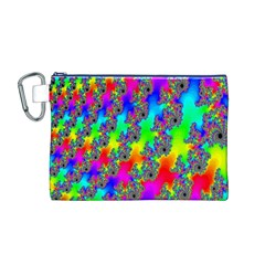 Digital Rainbow Fractal Canvas Cosmetic Bag (M)