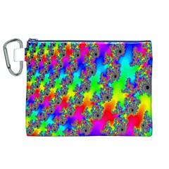 Digital Rainbow Fractal Canvas Cosmetic Bag (XL)