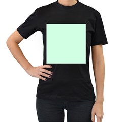 Pale Green Summermint Pastel Green Mint Women s T-Shirt (Black) (Two Sided)
