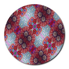 Floral Flower Wallpaper Created From Coloring Book Colorful Background Round Mousepads