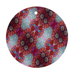 Floral Flower Wallpaper Created From Coloring Book Colorful Background Ornament (Round)