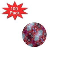 Floral Flower Wallpaper Created From Coloring Book Colorful Background 1  Mini Magnets (100 pack)