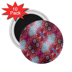 Floral Flower Wallpaper Created From Coloring Book Colorful Background 2 25  Magnets (10 Pack)