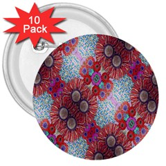 Floral Flower Wallpaper Created From Coloring Book Colorful Background 3  Buttons (10 Pack)