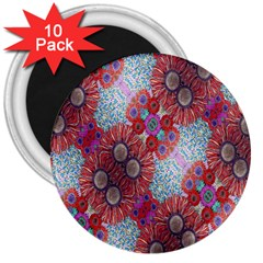Floral Flower Wallpaper Created From Coloring Book Colorful Background 3  Magnets (10 Pack)