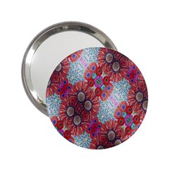 Floral Flower Wallpaper Created From Coloring Book Colorful Background 2.25  Handbag Mirrors