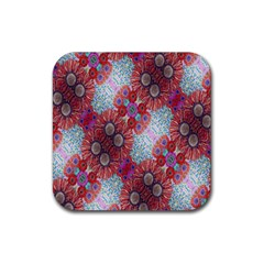 Floral Flower Wallpaper Created From Coloring Book Colorful Background Rubber Square Coaster (4 Pack)