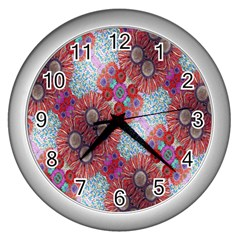 Floral Flower Wallpaper Created From Coloring Book Colorful Background Wall Clocks (Silver)