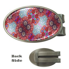Floral Flower Wallpaper Created From Coloring Book Colorful Background Money Clips (oval)