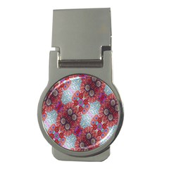 Floral Flower Wallpaper Created From Coloring Book Colorful Background Money Clips (round)