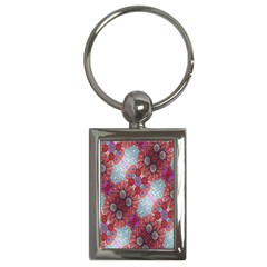 Floral Flower Wallpaper Created From Coloring Book Colorful Background Key Chains (Rectangle)