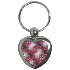 Floral Flower Wallpaper Created From Coloring Book Colorful Background Key Chains (Heart)