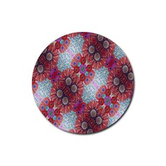 Floral Flower Wallpaper Created From Coloring Book Colorful Background Rubber Coaster (Round)
