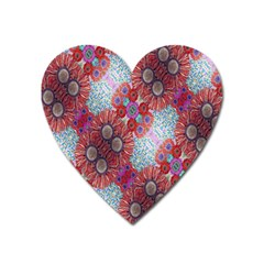 Floral Flower Wallpaper Created From Coloring Book Colorful Background Heart Magnet