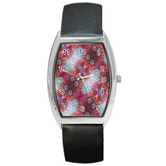 Floral Flower Wallpaper Created From Coloring Book Colorful Background Barrel Style Metal Watch