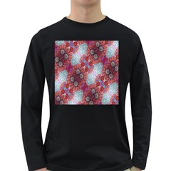 Floral Flower Wallpaper Created From Coloring Book Colorful Background Long Sleeve Dark T Shirts