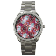 Floral Flower Wallpaper Created From Coloring Book Colorful Background Sport Metal Watch