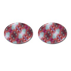 Floral Flower Wallpaper Created From Coloring Book Colorful Background Cufflinks (oval)