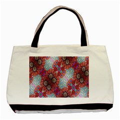 Floral Flower Wallpaper Created From Coloring Book Colorful Background Basic Tote Bag