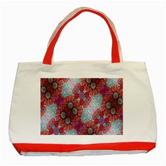 Floral Flower Wallpaper Created From Coloring Book Colorful Background Classic Tote Bag (red)