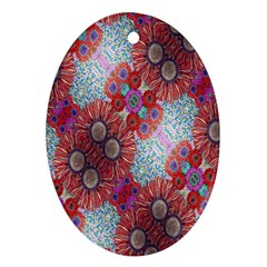 Floral Flower Wallpaper Created From Coloring Book Colorful Background Oval Ornament (two Sides)