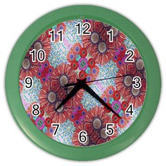 Floral Flower Wallpaper Created From Coloring Book Colorful Background Color Wall Clocks