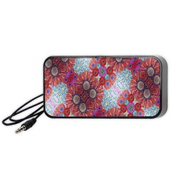 Floral Flower Wallpaper Created From Coloring Book Colorful Background Portable Speaker (black)