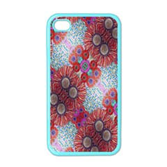 Floral Flower Wallpaper Created From Coloring Book Colorful Background Apple iPhone 4 Case (Color)