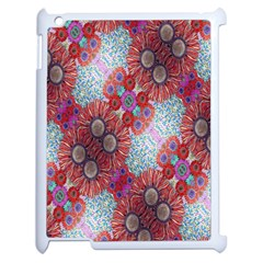 Floral Flower Wallpaper Created From Coloring Book Colorful Background Apple iPad 2 Case (White)