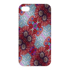 Floral Flower Wallpaper Created From Coloring Book Colorful Background Apple iPhone 4/4S Hardshell Case