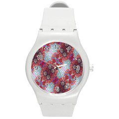 Floral Flower Wallpaper Created From Coloring Book Colorful Background Round Plastic Sport Watch (M)