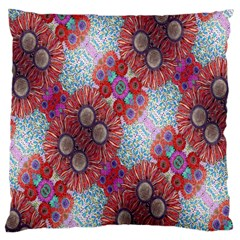 Floral Flower Wallpaper Created From Coloring Book Colorful Background Large Cushion Case (One Side)
