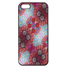 Floral Flower Wallpaper Created From Coloring Book Colorful Background Apple iPhone 5 Seamless Case (Black)