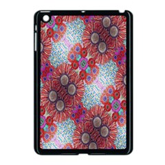 Floral Flower Wallpaper Created From Coloring Book Colorful Background Apple iPad Mini Case (Black)