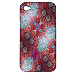 Floral Flower Wallpaper Created From Coloring Book Colorful Background Apple Iphone 4/4s Hardshell Case (pc+silicone)
