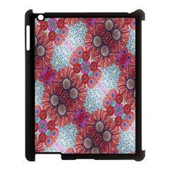 Floral Flower Wallpaper Created From Coloring Book Colorful Background Apple iPad 3/4 Case (Black)