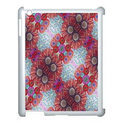 Floral Flower Wallpaper Created From Coloring Book Colorful Background Apple iPad 3/4 Case (White)