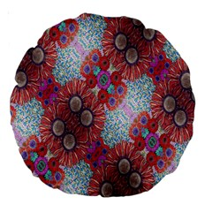 Floral Flower Wallpaper Created From Coloring Book Colorful Background Large 18  Premium Round Cushions