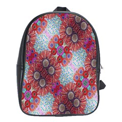 Floral Flower Wallpaper Created From Coloring Book Colorful Background School Bags (XL)