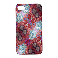 Floral Flower Wallpaper Created From Coloring Book Colorful Background Apple iPhone 4/4S Hardshell Case with Stand