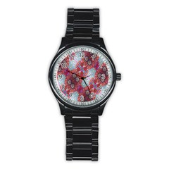 Floral Flower Wallpaper Created From Coloring Book Colorful Background Stainless Steel Round Watch