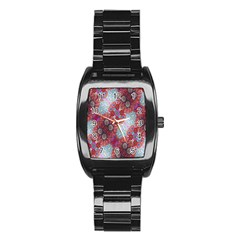 Floral Flower Wallpaper Created From Coloring Book Colorful Background Stainless Steel Barrel Watch