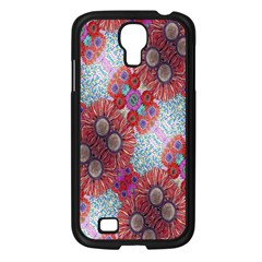 Floral Flower Wallpaper Created From Coloring Book Colorful Background Samsung Galaxy S4 I9500/ I9505 Case (Black)