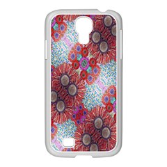 Floral Flower Wallpaper Created From Coloring Book Colorful Background Samsung Galaxy S4 I9500/ I9505 Case (white)