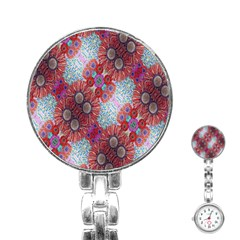 Floral Flower Wallpaper Created From Coloring Book Colorful Background Stainless Steel Nurses Watch